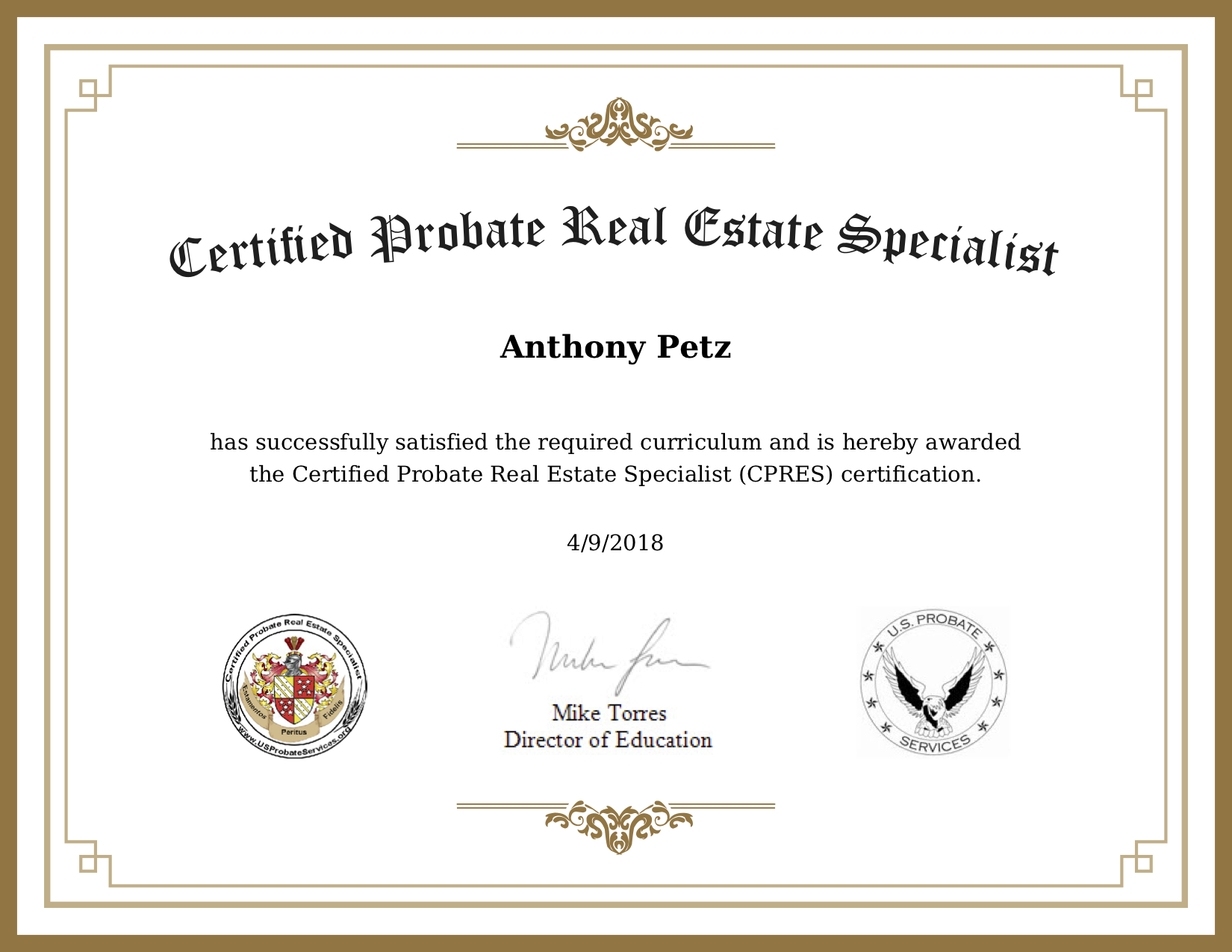 Anthony Petz Probate CPRES-Certificate Bellingham, WA
